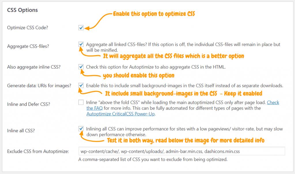 css-configuration-autoptimize-wordpress-settings