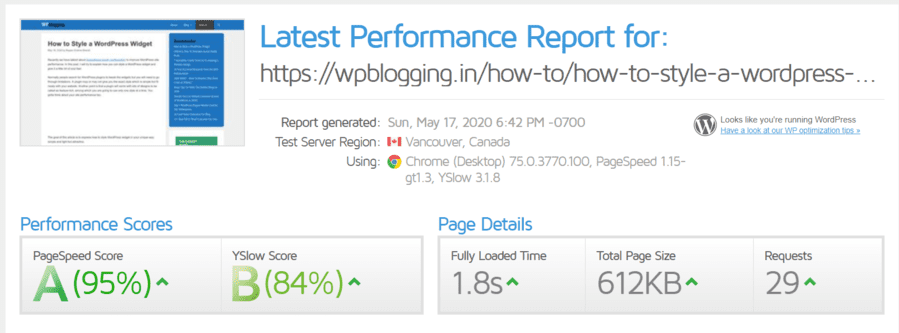 page-perfromance-for-widget-styling